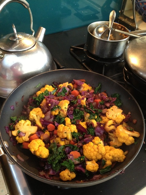 Cauliflower & Kale with a Splash of Orange and Black recipe